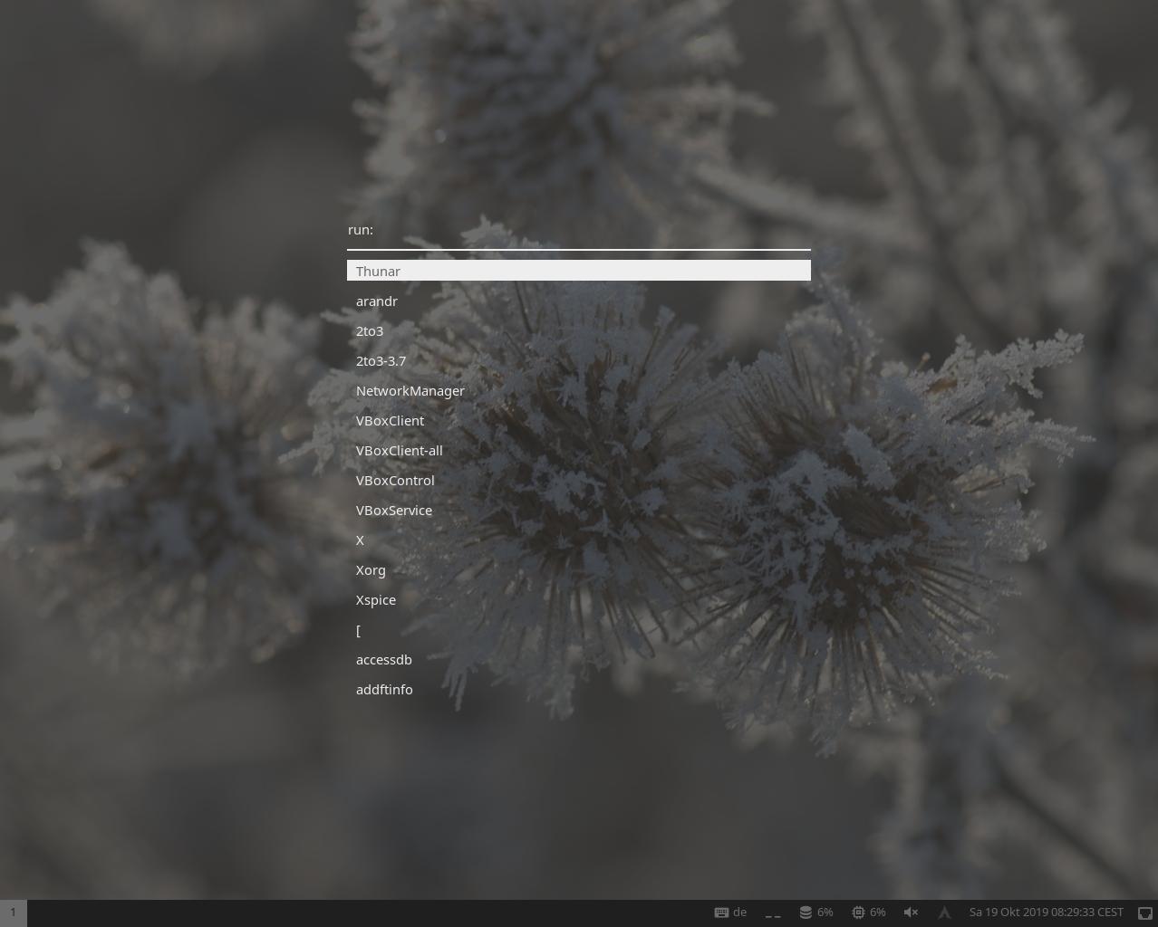 screenshot of application launcher